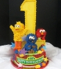 Sesame Characters with Styrofoam Number