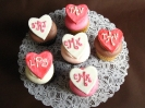 Fondant hearts with monogram
