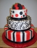 Black and Red Fondant Bow, Dots, and Stripes