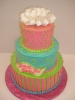 Bright Colored Tier with Fondant Bow