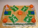 Basketball court with jerseys